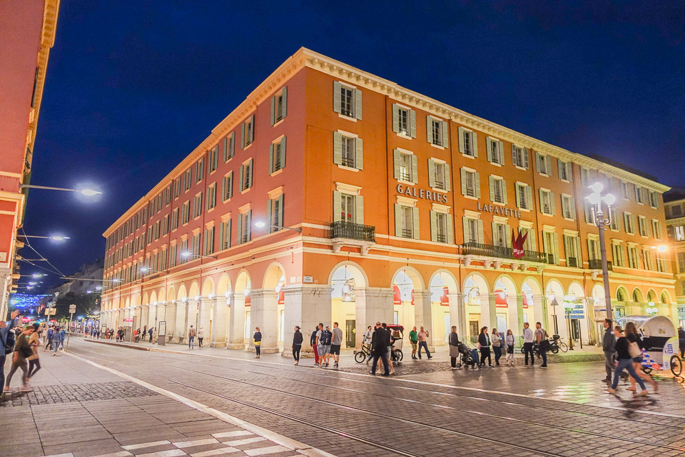 place massena at night in nice, france