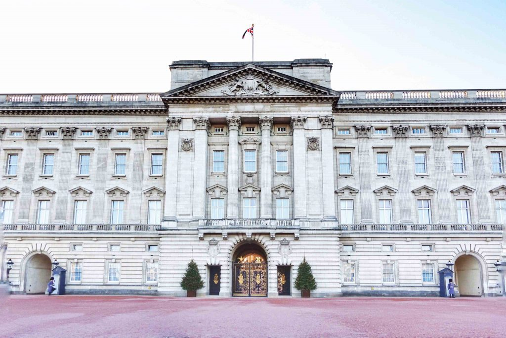 Buckingham Palace in London, shortly after the changing guard.
