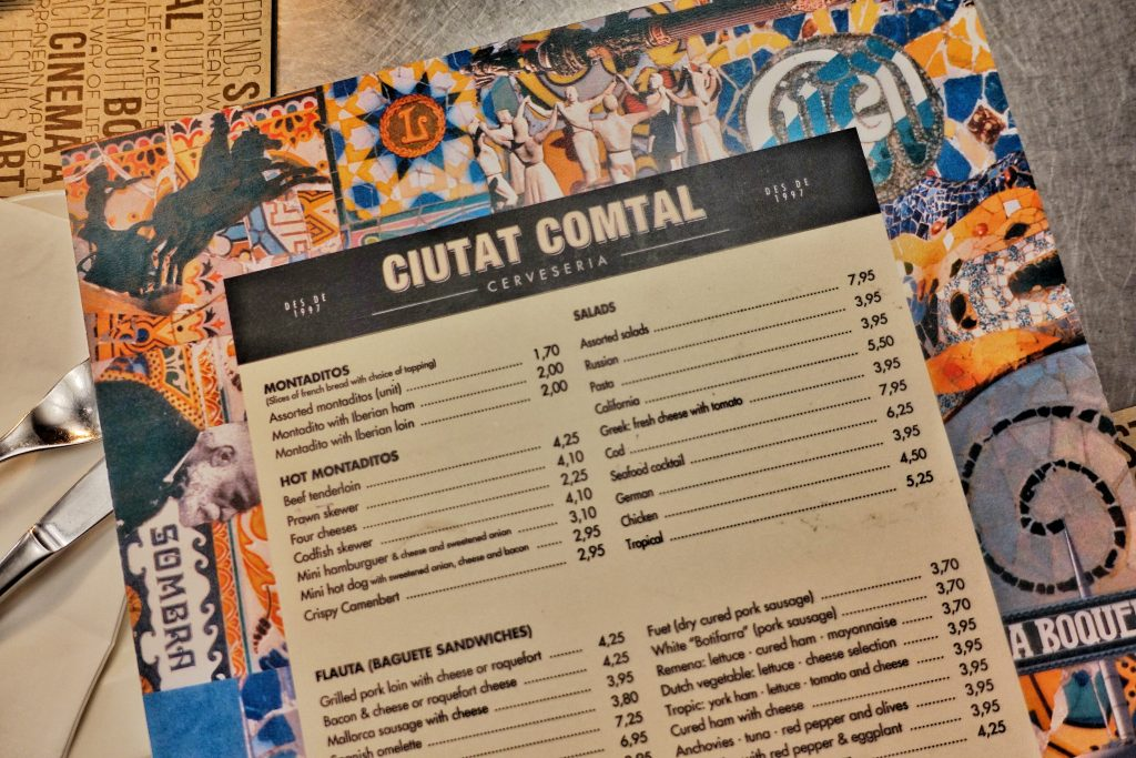 3-days-in-barcelona-ciutat-comtal-menu