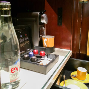 In-Room Nespresso and Evian Water