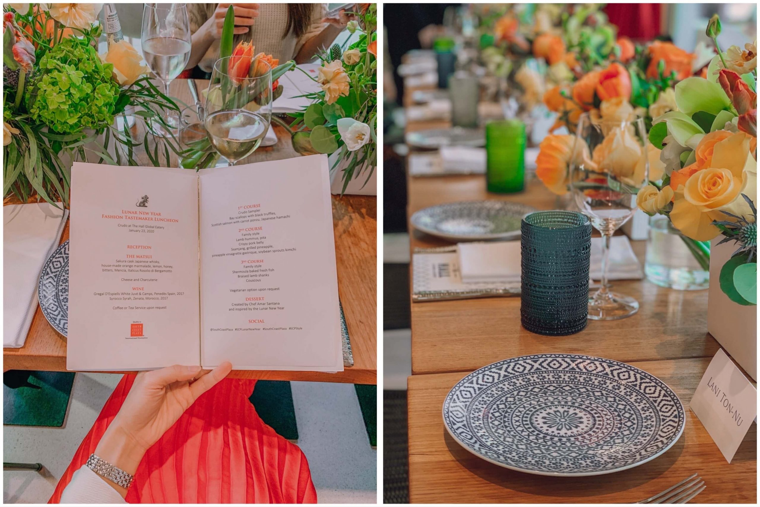Menu and table setting at Fashion Tastemaker Luncheon Event at South Coast Plaza